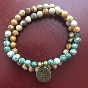 Other - Tree agate and picture jasper bracelet with lotus